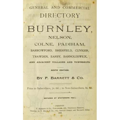 31 - Burnley.- BARRETT'S DIRECTORY OF BURNLEY AND DISTRICT, 6 vol., 1890, 1893, 1896, 1905, 1914, 1941, p...