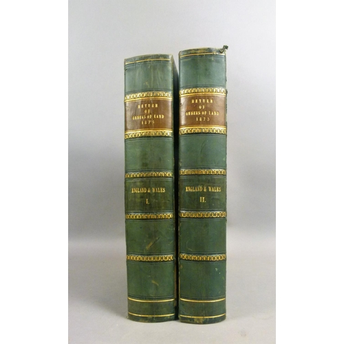 37 - .- RETURN OF OWNERS OF LAND 1873, 2 vol., ex-libris Cullen House, contemporary half calf, morocco sp...