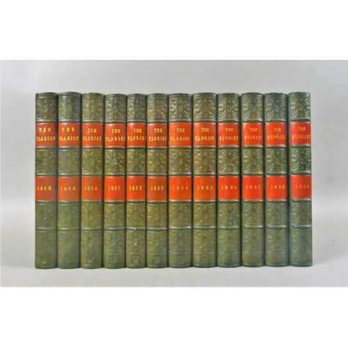 46 - .- THE FLORIST, 12 vol., 163 engraved plates, 3 folding, all but one hand-coloured, fine contemporar...