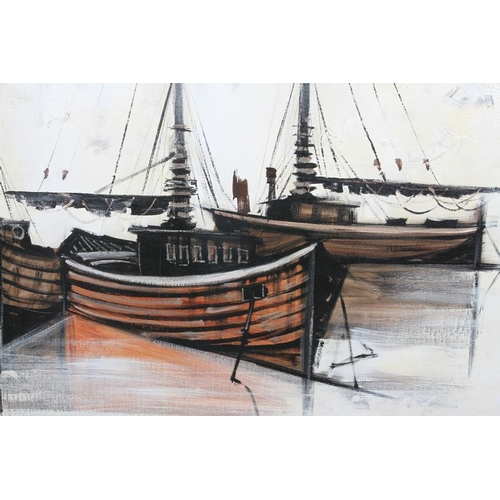 24 - Lee Reynolds (20th century, American) Fishing boats with anchor, oil on canvas, signed to lower righ...