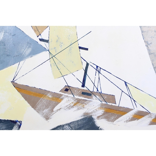 25 - Yacht at full sail in a light swell, oil on canvas, signed to lower right, 122cm x 153cm...