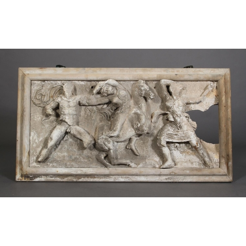 26 - A plaster of Paris frieze after the Antique, moulded in relief with female on horse back and other c...