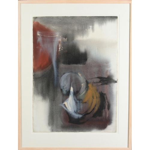 46 - Willy Tirr (1915-1991) Abstract with red, watercolour, signed to lower right, 68cm x 57cm...