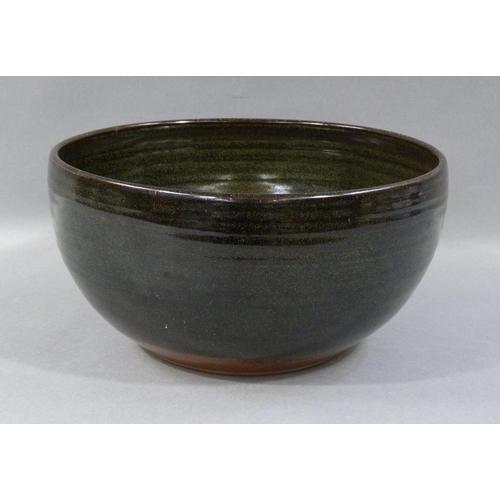57 - Ray Finch (1914-2012) Winchcombe Pottery, a large bowl, tenmoku glaze, impressed seal mark, 30cm dia...