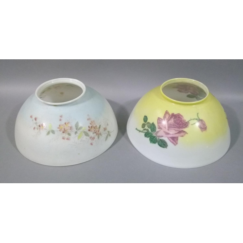 46 - Two Edwardian glass ceiling light shades, each transfer printed with flowers, one yellow shaded the ...