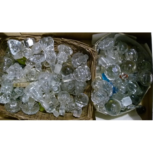 48 - A large quantity of pressed and cut glass stoppers...