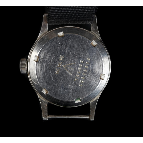 1 - An Omega gentleman's WWII stainless steel wristwatch, c.1945, manual jewel lever movement, black dia...