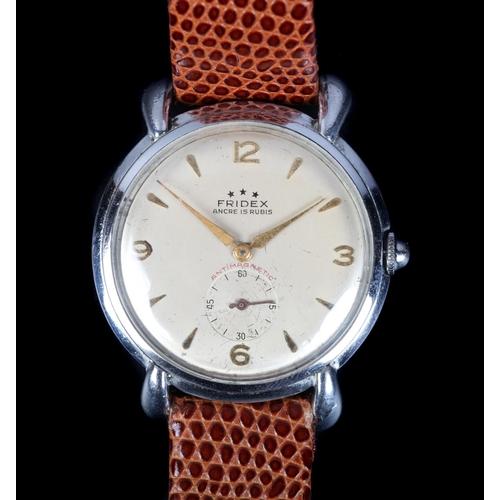 10 - A Fridex gentleman's stainless steel wristwatch c.1950, manual 15 jewel lever movement, cream dial g...