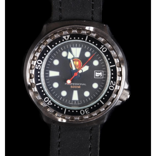 11 - An OMS gentleman's professional diver's stainless steel wristwatch c.1990, quartz movement, black di...