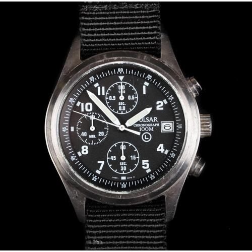 15 - A Pulsar gentleman's military issue chronograph stainless steel wristwatch, c.2007, quartz movement,...