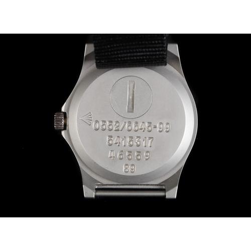 16 - A CWC gentleman's military issue matt steel wristwatch, c.1989, quartz movement, black dial, luminou...