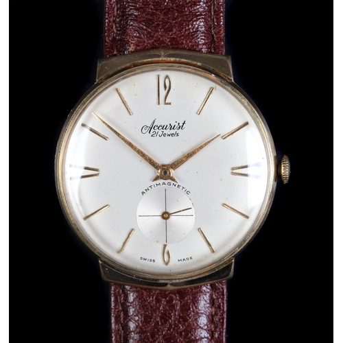 18 - An Accurist gentleman's rolled gold wristwatch c.1960 manual 21 jewel lever movement champagne dial,...