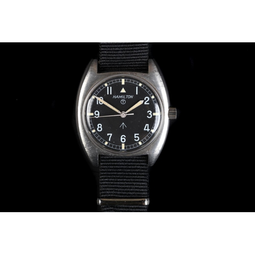 2 - A Hamilton gentleman's military issue stainless steel wristwatch, c.1973, manual jewel lever movemen...