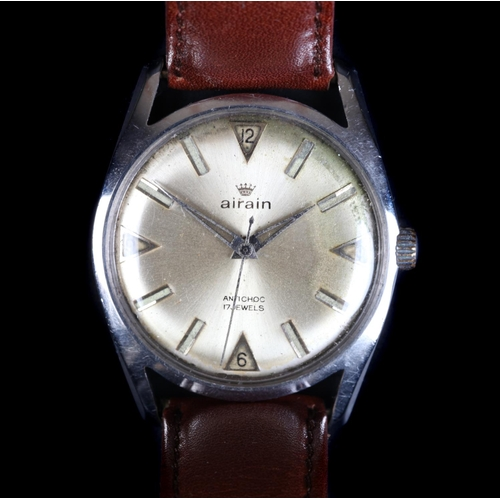 20 - An Airain gentleman's stainless steel wristwatch, c.1965, manual 17 jewel lever movement, silvered s...
