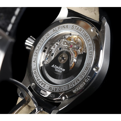 21 - An Alpina gentleman's Startimer Pilot stainless steel wristwatch c.2017, automatic dual lever moveme...
