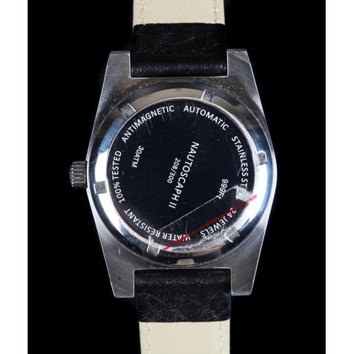 22 - An Alsta gentleman's Nautoscaph stainless steel wristwatch, automatic 24 jewel lever movement, black...