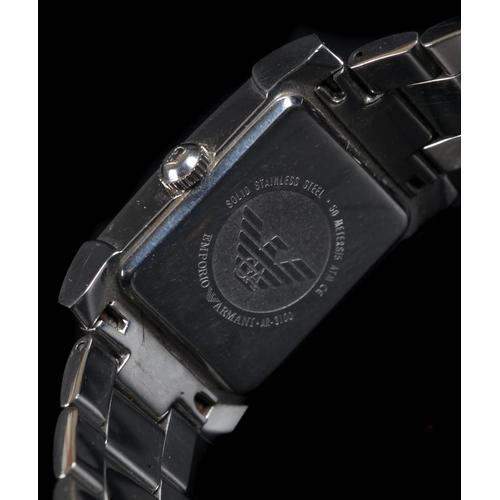 23 - An Armani gentleman's stainless steel wristwatch c.2002 quartz movement, rectangular mother of pearl...