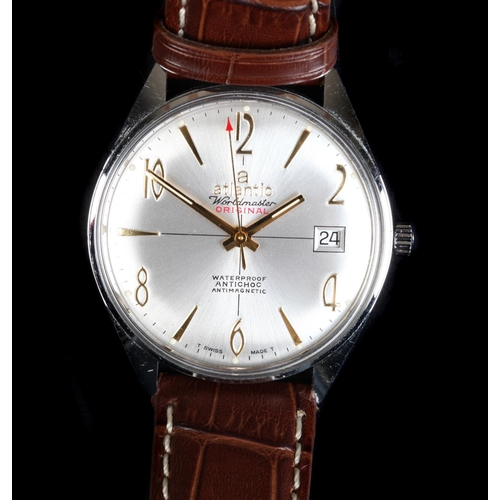 24 - An Atlantic gentleman's Worldmaster original stainless steel wristwatch c.1965 manual jewel lever mo...