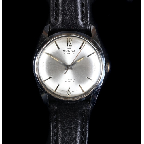 25 - An Audax gentleman's Fortis stainless steel wristwatch, c.1965, manual 17 jewel lever movement, silv...