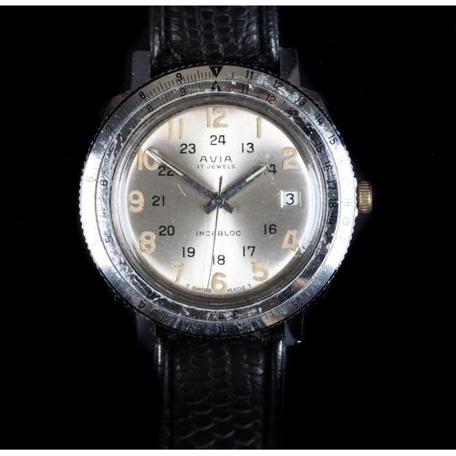 26 - An Avia gentleman's stainless steel wristwatch, c.1965, manual 17 jewel lever movement, silvered sun...