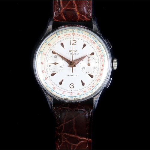 27 - An Avia gentleman's chromed chronograph wristwatch, c.1960, manual 17 jewel lever movement, tropical...