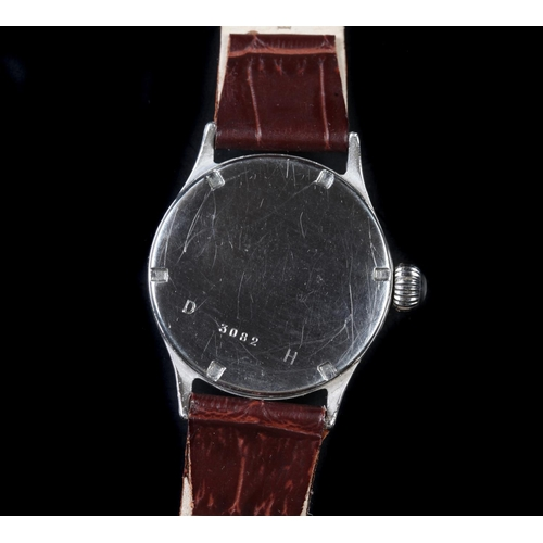 3 - A Bulla gentleman's German army issue chromed wristwatch, c.1940, manual jewel lever movement, tropi...