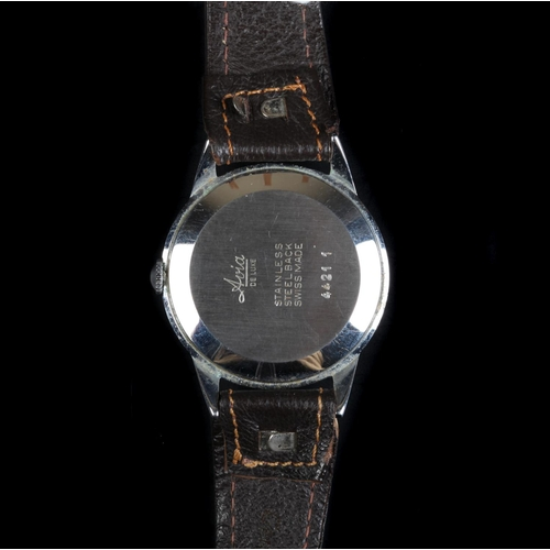 30 - An Avia gentleman's Deluxe stainless steel wristwatch, c.1955, manual 17 jewel lever movement, white...