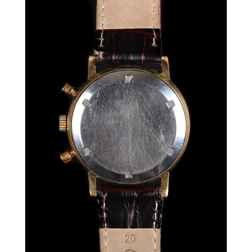 31 - An Avia gentleman's chronograph rolled gold wristwatch c.1975 manual 17 jewel lever movement, silver...
