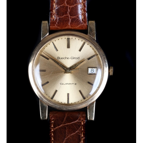 41 - A Bueche-Girod gentleman's 9ct gold wristwatch c.1982 Swiss quartz movement No 947111, gilt sunburst...