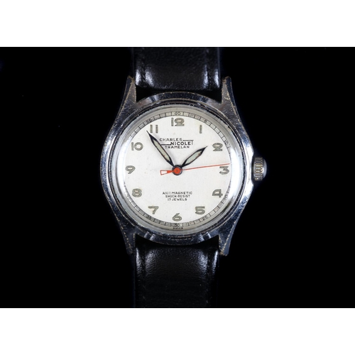 44 - A Charles Nicolet Tramelan gentleman's chromed wristwatch, c.1950, manual 17 jewel lever movement, s...