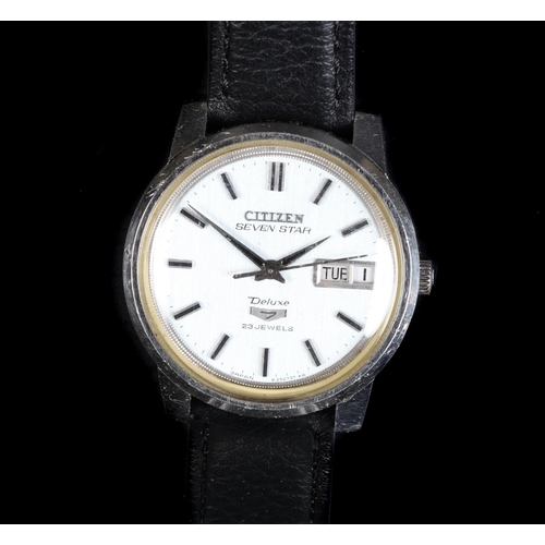 45 - A Citizen gentleman's Seven Star Deluxe stainless steel wristwatch, c.1970, automatic 23 jewel lever...
