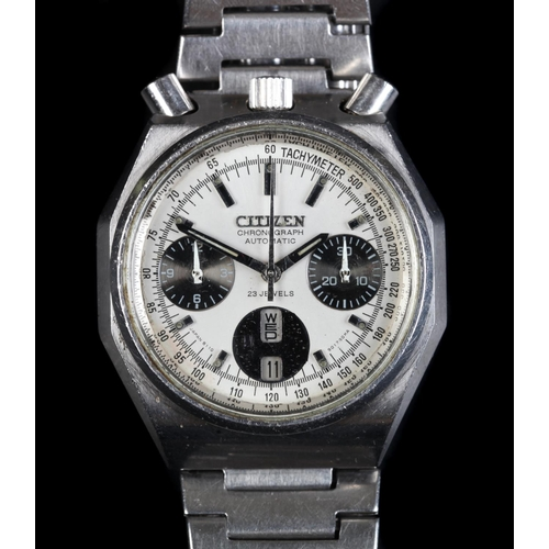 46 - A Citizen gentleman's stainless steel bullhead chronograph wristwatch, c.1970, 21 jewel lever moveme...