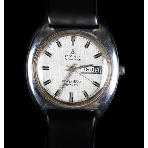 47 - A Cyma gentleman's stainless steel Conquistador wristwatch c.1970s automatic jewel lever movement, t...