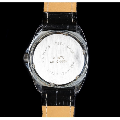 50 - A Devina gentleman's chromed wristwatch, c.1965, manual lever movement, metallic blue dial, white Ar...