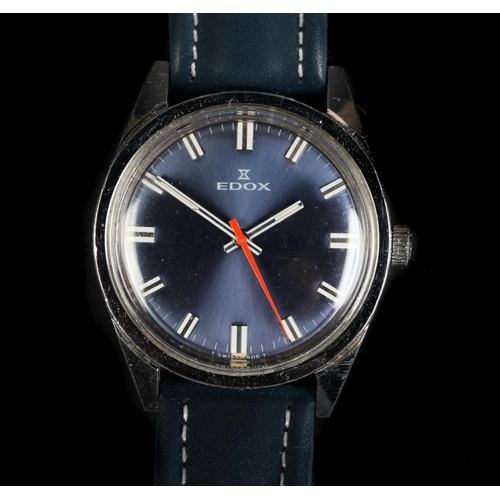 55 - An Edox gentleman's stainless steel wristwatch, c.1970, manual jewel lever movement, metallic blue s...