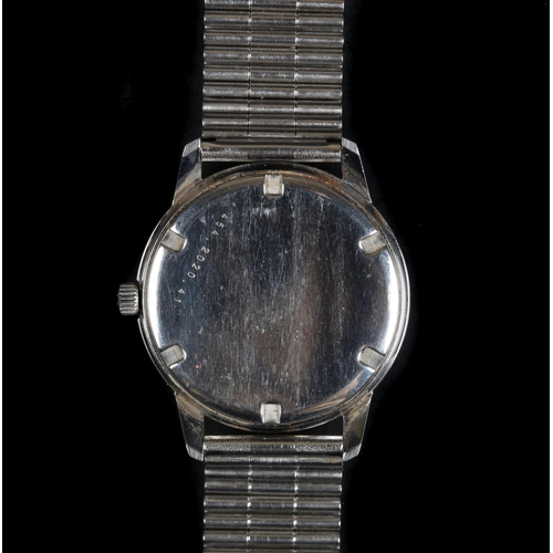 57 - An Eterna gentleman's stainless steel wristwatch, c.1970, manual jewel lever movement, satin silver ...