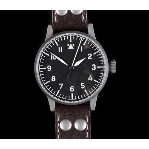 6 - A Laco gentleman's Munster 127-560 matt steel wristwatch, manual jewel lever movement, black type A ...