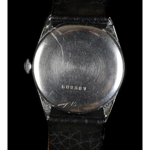 7 - A Titus Gen F gentleman's stainless steel wristwatch c.1940, manual jewel lever movement, black dial...