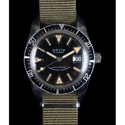 8 - An Orvin gentleman's stainless steel diver's wristwatch c.1960, manual 17 jewel lever movement, blac...