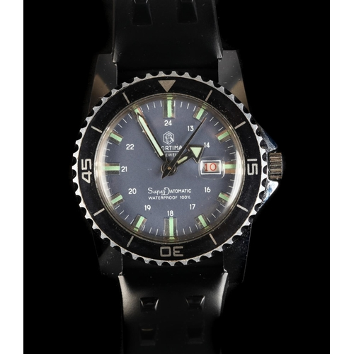 9 - A Mortima gentleman's SuperDatomatic stainless steel divers wristwatch c.1965, manual 17 jewel lever...