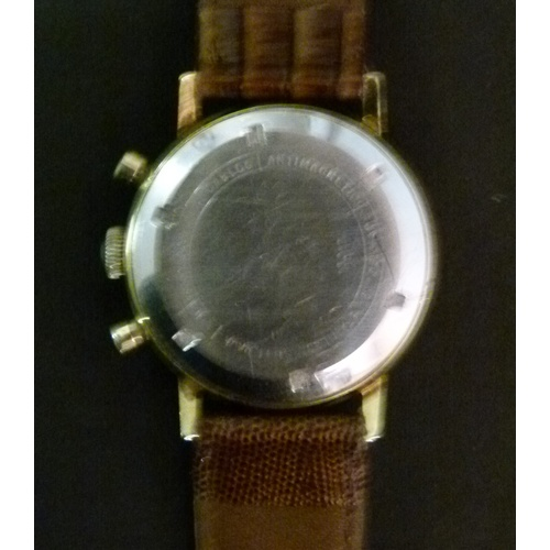 32 - An Avia gentleman's chronograph rolled gold wristwatch c.1970 manual 17 jewel lever movement, silver...