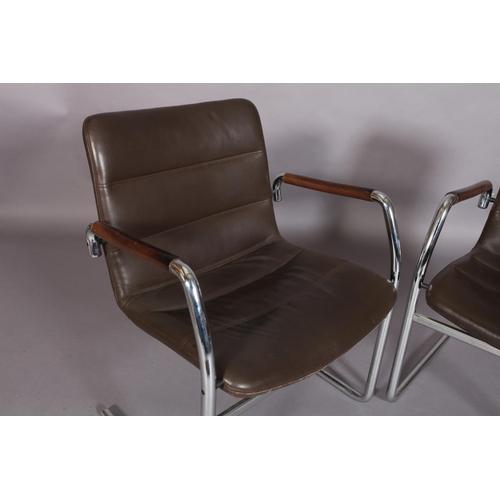 10 - A pair of brown leather and tubular chrome cantilever armchairs c.1970/80s