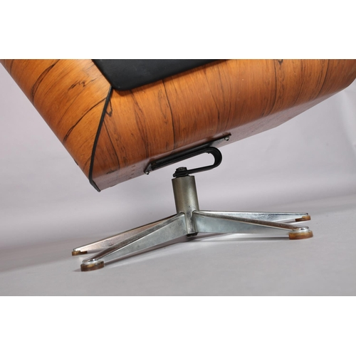 19 - Style of Eames, Lounge Chair, c.1980/1990s, rosewood, button black leather and chrome five spoke bas...