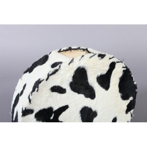 35 - A black and white 'cow hide' table lamp, 32cm x 32cm...
