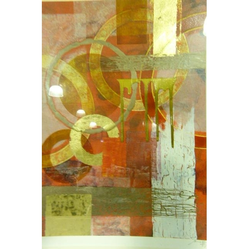 37 - Abstract of circles and square in burnt orange, salmon, white and gold, mixed media, indistinctly si...