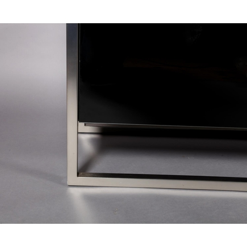 38 - Belgo Chrom Design, a four door black glass and brushed steel sideboard, interior glass shelves, 239...