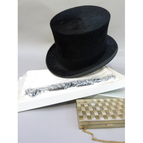 A Gentleman S Top Hat By Austin Reed Ltd And A Debenham Freebody White Evening Scarf In Original B