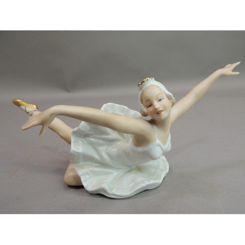 1 - A Wallendorf porcelain figure of a ballerina, 21.5cm wide max, printed mark in green W and 1764, imp...