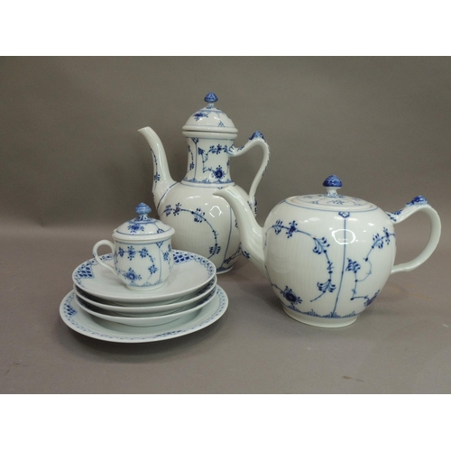 13 - A Royal Copenhagen coffee, tea pot, chocolate cup and cover, three saucers and a plate, printed mark...