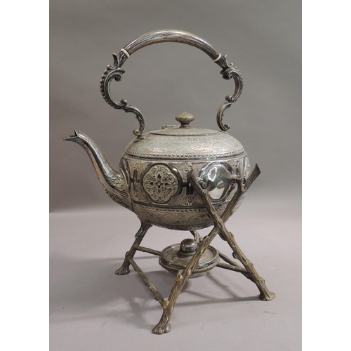 39 - A Victorian silver plated tea kettle on stand, the body with arched bead cast scroll handle with ivo...